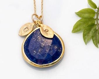 Lapis Lazuli Necklace, Custom Stamped Initial, Personalized Gift, September Birthstone Gift, Boho Jewelry, New Mom Present, Keepsake Jewelry