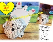 In The Hoop Flat Coaster Westie Embroidery Machine Design