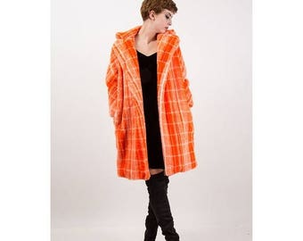 FLASH SALE... Faux fur coat / Vintage Orange plaid fluffy vegan wrap coat / Club kid S M
