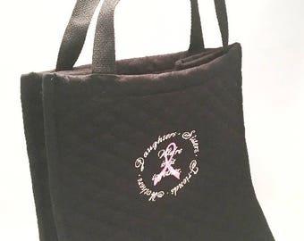 Breast Cancer Gift, Breast Cancer Survivor, Quilted Tote Bag, Embroidered Tote Bag, Breast Cancer Ribbon, Pink Ribbon, Survivor