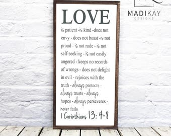 """Love is patient love is kind, 1 Corinthians 13 sign, Rustic Wedding Sign, Faith Hope Love, wood sign with 1"""" Walnut Stained Frame"""