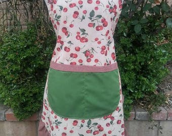 Womens cherry apron-classic looking apron with gingham check and cherries print