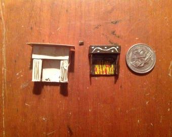 Micro Mini Miniature dollhouse  furniture 1 :1 44 cardboard fireplaces