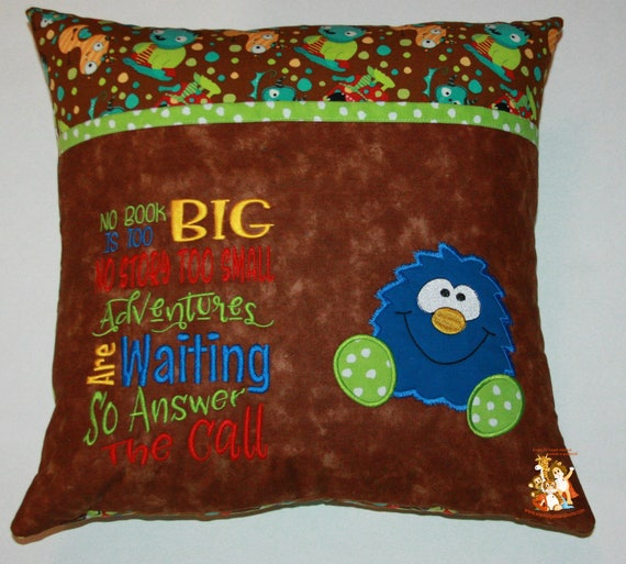 Reading pillow pocket monster applique embroidered