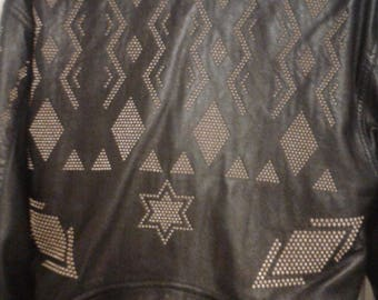 Gold studded black leather jacket