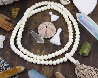 White Rondelle Mala Bone Beads 8mm, 108 beads, Indian Yoga Mala Beads, Jewelry Making Supply, Large Hole Beads for Bracelets, Summer Fashion