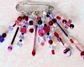 Sparkling Rhinestone Crystals And Beads On a Safety Pin Brooch Reds & Purples Unique Hand Made One-Of-A-Kind