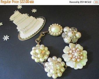 ON SALE Vintage Pearl Earring Bracelet One of a Kind Bridal Bracelet