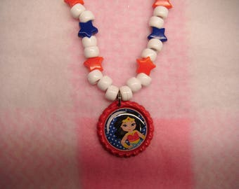 Wonder Woman Inspired Bottle Cap Necklace