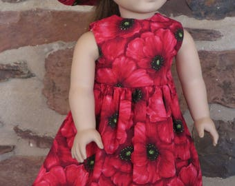 """18"""" Doll Clothes Red Poppy Dress and Hat"""