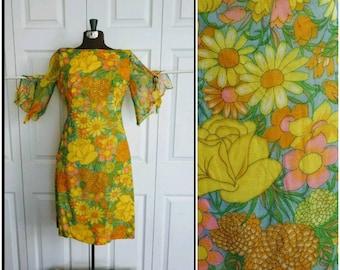 Shindig It .... Vintage 60s dress / mod go go mini / flower power / mad men Twiggy / sheer bell trumpet sleeves ... XS S