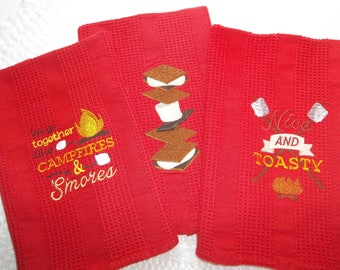 3 Towels, Smores Kitchen Camping, Campfire,Marshmallows,Red Kitchen Hand Towel,(s) Home Decor Wedding, Bridal Shower, Anniversary Gift