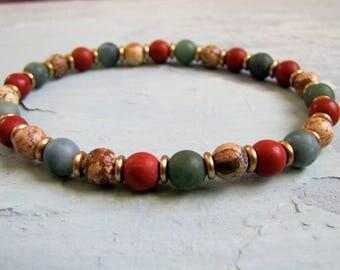Men's Bracelet Protection Bracelet Jasper Bracelet Buddhist Mala Bracelet Woman's Bracelet Healing Mala Boho Jewelry  Mens Gift for Him