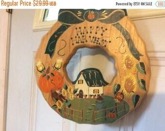 XMASinJULY Handmade in Mexico wooden  door wreath Happy Harvest Pumpkin Harvest Scenery darling