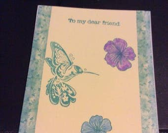 To my dear friend hummingbird greetings card, handmade hand stamped hand colored flowers, hummingbird purple blue flowers