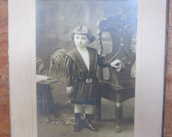 Old Antique Photograph Small Child with Civil War / Spanish American War Era US Army Belt on Victorian Clothing Sepia Tone
