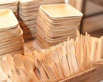 75 Disposable Wooden Utensils, 25 Knifes, 25 Forks,25  Spoons, Eco Friendly, Wooden Silverware, Tableware,  Wood Silverware, Wedding