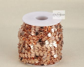 Promotion season-20 feet unique  disc coin chain rose gold plated over raw solid brass dotted chain-F123MEIGUI
