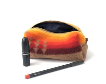 READY TO SHIP: Small Toiletry Bag from 60s Tribal Blanket with Leather