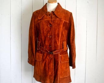 34% Off Sale - Suede Leather Trench - 1960s Coat - Burnt Orange Dark Mustard Coat - Vintage Hippie Boho Haight Ashbury Era Jacket - Large