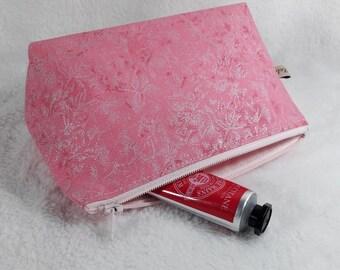 make up bag, toiletry bag, pink make up bag, pink toiletry bag, pink metallic make up bag, cosmetic bag, pink and silver toiletry bag