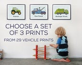 Transportation Prints, Set of three prints, Construction print, Boys nursery decor, Vehicle wall art, Nursery prints, Truck wall art