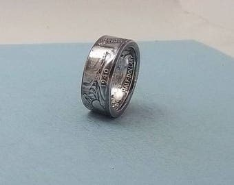 Unique Gift, Silver coin ring walking liberty half dollar 90% fine silver jewelry year 1940 size 10 1/2