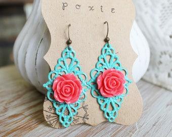 Pink Floral Earrings - Filigree Earring - Turquoise Jewelry - Floral Jewelry - Flower Earrings - Bridesmaid Earrings - Turquoise Earrings