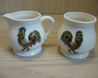 Sugar & Creamer Emboss Brown Rooster Design Over Cream Color 1980