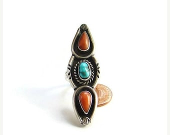 ON SALE Southwestern Turquoise Red Coral Statement Ring Sterling Silver Size 7.5 Native American Vintage
