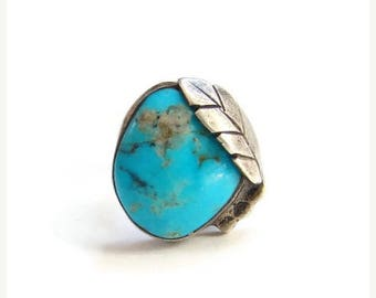 ON SALE Old Native American Morenci Turquoise Ring Size 6.75 Sterling Silver Split Shank