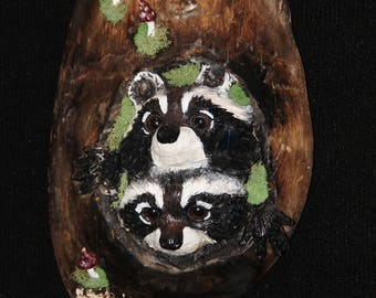 Wood Carving -Raccoon Carving- OOAK -  Hand Carved and Sculpted