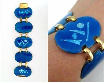 Mid Century Asian Enamel Link Bracelet // Blue and Green Jewel Tones Modernist