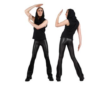 Men's Matte Black Flare Leggings, Bootcut Spandex Pants, Leather-Look Meggings, Glam Rock Stage Outfit, Heavy Metal Clothing, by LENA QUIST
