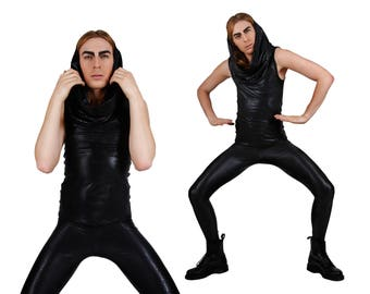 Men's Set of Snake Print Top & Leggings, Black Spandex Clothing, Oversize Hood Tank, Berghain Club Wear, by LENA QUIST