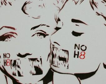 Audrey Hepburn and Marilyn Monroe 12x12 Marilyn Portrait Lesbian Art Gay Wedding Gift Street Art Original Painting Stencil Spray Comic Obey