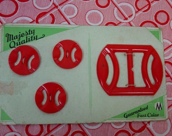 Vintage Buckle and Button Set on Original Card Red Plastic,