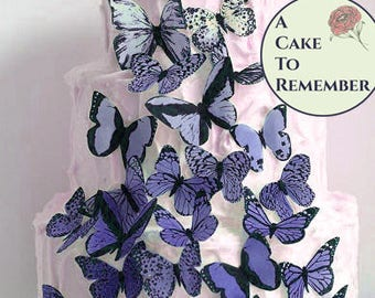 Wedding cake topper blue purple edible ombre butterflies, 30 wafer paper butterflies.  Butterfly cakes decoration, ombre cake ideas.