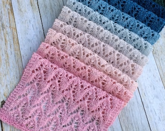 Knit Scarf, Knit Lace Scarf, Hand Knit, Lace Scarf, Gradient Color, Handmade Gifts, Gifts for her