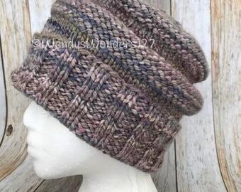 Wool Hat, Knit hat, Knit Beanie, Winter hat, Handspun Wool Hat