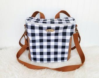 Black Plaid Madelyn Backpack Diaper Bag