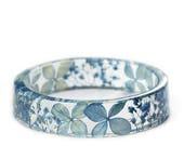 Blue Flower Bracelet -Real Dried Flower Jewelry-  Resin Bangle -Blue Flower Bracelet -Resin Jewelry -Flower Jewelry