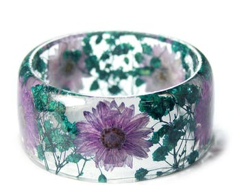 Jewelry with Real Flowers- Dried Flowers- Teal Bracelet - Turquoise Dried Flowers- Green Bracelet- Resin Jewelry- Purple Flowers