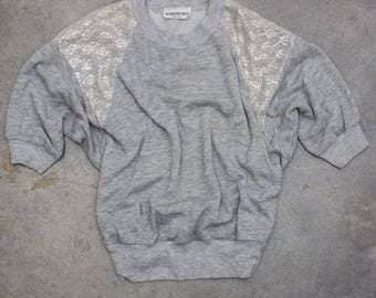 1980s Drapey Sweatshirt With Metallic Silver Lace Shoulders Gray Heather 3/4 Sleeves Oversized 7ND