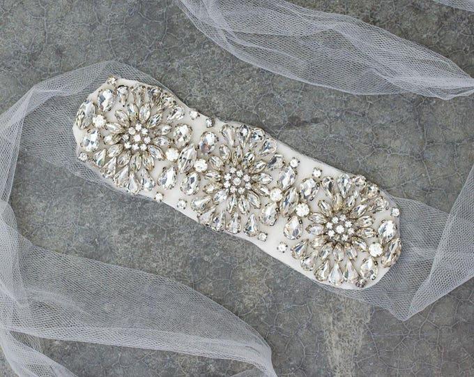 Modern Crystal Tulle Ribbon Belt Bling Flower Sparkling Stones Shiny 597