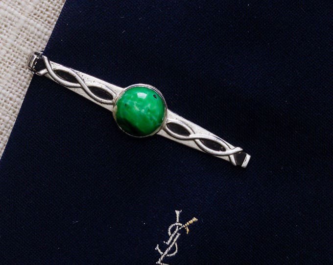 Green Ombre Stone Tie Clip Vintage Silver Metal Anson Twisting Pattern Men's Accessories Add On 7WW