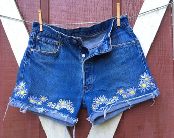 Daisy Daisy Dukes Daisy embroidered vintage 501 button fly high waisted Levi shorts Please read listing before ordering