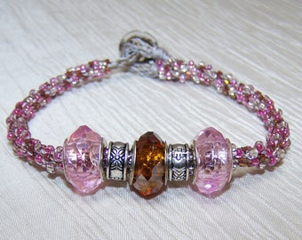 Pink Kumihimo seed bead large hole glass sterling beaded bracelet
