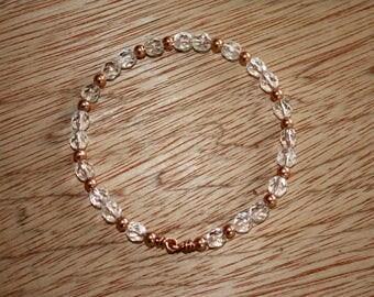 Crystal Bangle Bracelet - Copper Bangle Bracelet - Czech Glass Bangle - Beaded Bangle - Wire Bangle - Flexible Bracelet - Two Feathers