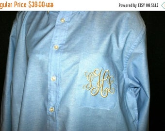 CHRISTMAS IN JULY Oversized Light Blue Men's Button Down Bride and Bridesmaids Shirt Monogrammed